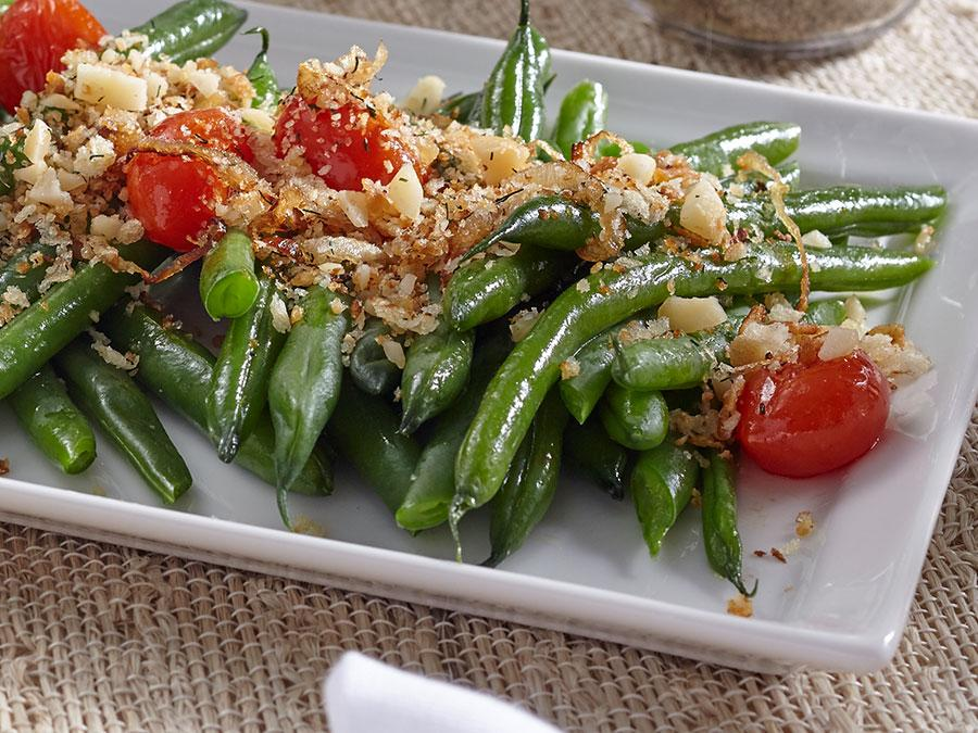 Crispy Green Beans with Blistered Tomatoes