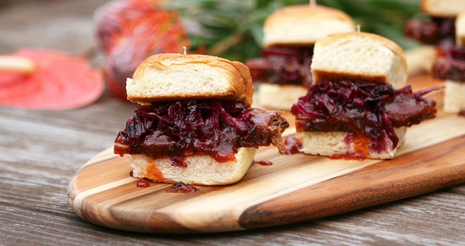 Smoked Brisket Sliders w/ Pickled Red Cabbage